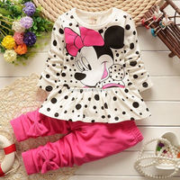 Super Cute Cartoon Dot Dress Top+Pants kid child baby girl clothes