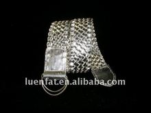 shiny knitted belt with metal buckle