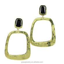 Huge Matte Gold Epoxy Earrings Square Accessories For Lady