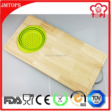 High Quality FDA/LFGB Certificate 100% Food Grade Bamboo Cutting Board with Silicone Collapsible Colander Wooden Cutting Board