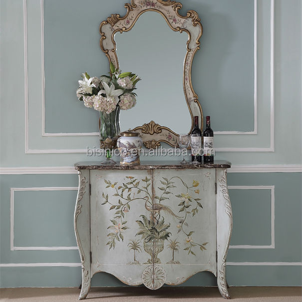 Floral Painted Console Table Storage Cabinet Elegant Home
