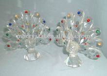 Handicrafts clear crystal peacock figurine MH-D0211