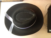 Fashion Men Women Soft Wool Felt Bowler Ribbon Derby Top Hat Unisex BLACK QHAT-2140