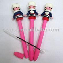 Cute girl clay polymer pink ballpoint pen