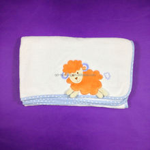 100% polyester coral fleece fabric baby blanket with sheep embroidery