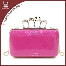 Rose red pu box Evening Bags skull diamond studded handbags for women