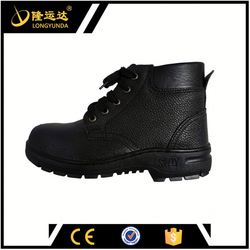 Black mid cut safety boots split leather upper safety shoes rubber outsole work boots