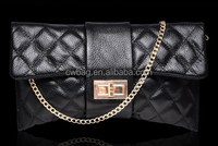 sheep skin leather clutch bag women made in China factory
