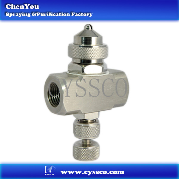 Stainless steel air atomizing spray nozzle adjustable