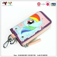 Promotional gift custom leather metal key ring fur keychain for kids