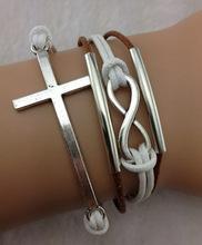 ross bracelet, infinity bracelet, silver tube bracelet--antique silver bracelet--wax cords bracelet--881 min order 10$