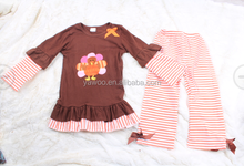 Cheap wholesale newborn cute turkey long sleeve outfit thanksgiving name brand custom girls set wholesale kids clothes supplier
