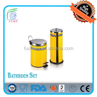 BSCI Factory -- pedal bin & toilet paper holder bathroom towel set in yellow coating and black & white squuares printing