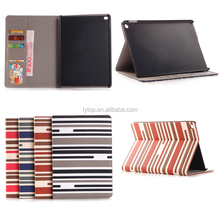 Lady Girls Business Striped Pattern Stand Flip Case for Apple iPad Mini 4
