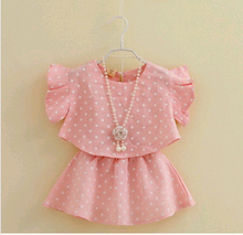 D83238H 2014 EUROPE GIRL'S SUMMER DOT PRINTED 2 PIECES CANDY COLOR T-SHIRT AND SKIRT SETS