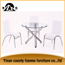 2015 hot sale glass top and metal legs dining table and chairs for home furniture