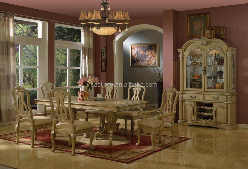 Blanco antiguo juego de comedor de madera inicio hotel for Muebles de comedor antiguos