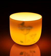 2015 New high transparency White Ceramic Candle Holder with printed image inside for Wholesale
