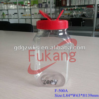 Food Grade Clear Plastic Flip Top Containers for Food Packaging, PET Food Powder Jars with Lid Wholesale China Factory