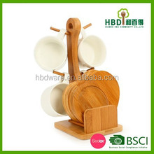 Functional wooden mug holders with round costers