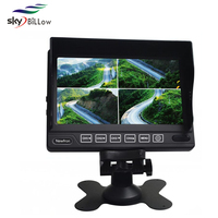 """7 inch bus TV monitor with 4 channels video input , 7"""" quad display car monitor , 7 inch car bus security system"""