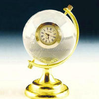 Handmade Unique Exquisite Crystal Globe Clock Glass Globe For Desktop Display New Year Business Gifts Souvenirs