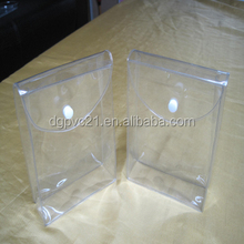 retail tshit clear pvc cosmetic bag with sanp button