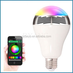 2015 new bluetooth speaker LED bulb type E27/B22 smart led bulb bluetooth speaker