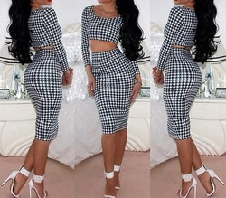 2015 Women Sexy Bandage Bodycon Two piece Dress Ladies Girls Fashion Cocktail Party Dresses Wholesale OEM