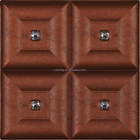 Decorative 3D Leather Acoustic plastic panels for walls with flocking material