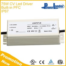 IP67 12V 24V 36V 48V 60V 72V 75W Constant Voltage Led Driver with Built-in Active PFC