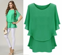 Fashion Ladies Women Short Sleeve O-Neck Elastic Waist Chiffon Smart Casual Wear Blouse Sv018883