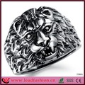 Últimas cabeza de león joyas de estilo gótico de titanio anillo para hombre