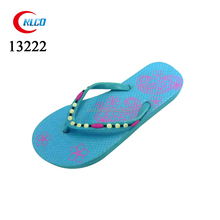 ladies colorful pead blue flat beach wedding flip flops