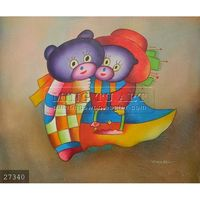 handmade happy kids oil painting on canvas, A pair of bear