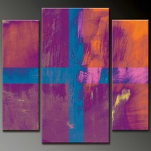 new purple orange abstract painting bright color wall art designing