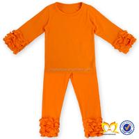 Orange Baby Girls Children Tight Ruffles Baby Kids Clothes 2016 Girls Boutique Clothing Usa