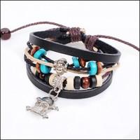 Silver Skull Pulsera Beaded innovative items Bracelet Punk Bracelet Caribbean-style Jewelry NL030