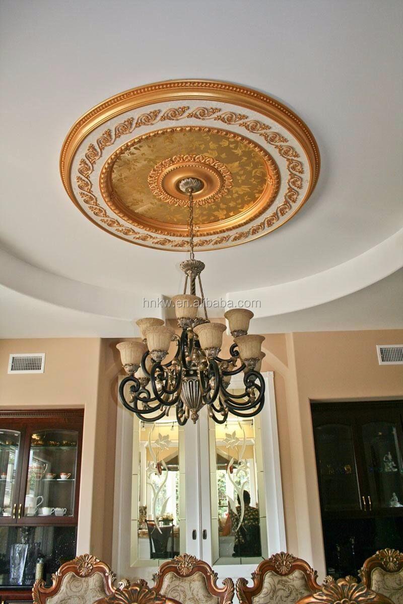 ke 9001 gold polyurethane foam ceiling medallion decoration for house buy ceiling medallion. Black Bedroom Furniture Sets. Home Design Ideas