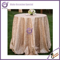 18804 Wedding round table blush champagne metallic sequin table cloth