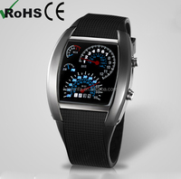 Silicone car meter water resistant stainless steel watch LED digital watch sport fashion watch