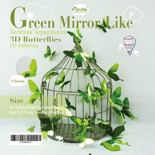 FUNLIFE green Mirror Butterflies 3d wall Stickers for Home Decoration FF2WF013