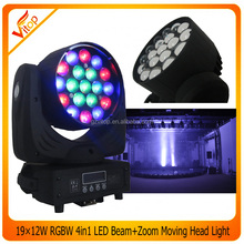 HOT!!!New_Style Beam +Wash +Zoom Function Light19x12w RGBW Moving LED Stage Light