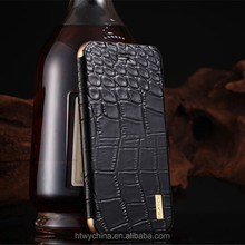 High Quality Customized Luxury Imatch Crocodile Genuine Flip Leather Cover With Metal Aluminum Bumper Case For Samsung S6