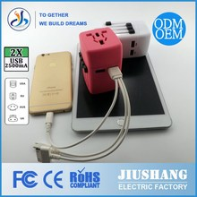 2014 the new design double usb 2500MA international travel plug-in adapter