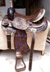 Western saddle barrel racing