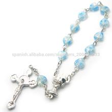 Azul en forma de corazón de cuentas del rosario, millefiori grano década rosario, católica rosario década, jbh201401-168