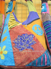 Cool hippie Nepalese style shoulder bags with lotus patchwork