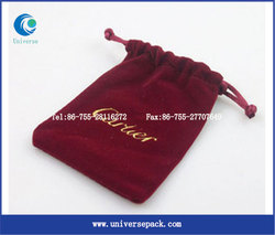 drawstring embroideried velvet pouch with cords