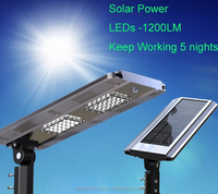 All in One Integrated Solar Street Light/Solar Powered 12W 1200 Lumens